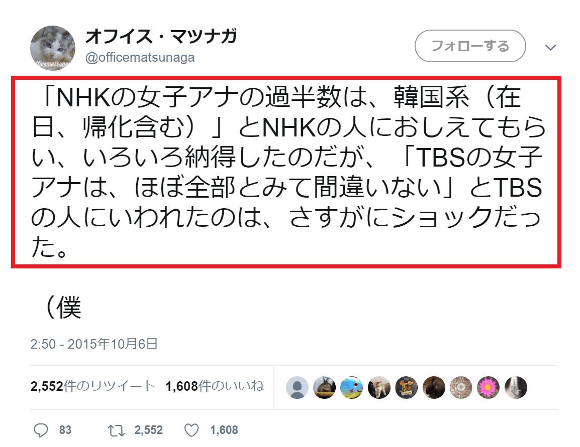 NHKの女子アナの過半数は、韓国系(在日、帰化含む)」とNHKの人におしえてもらい