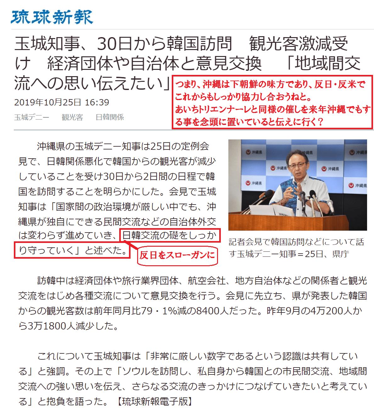 デニーが下朝鮮に「沖縄も反日反米だから」と伝えに行く?
