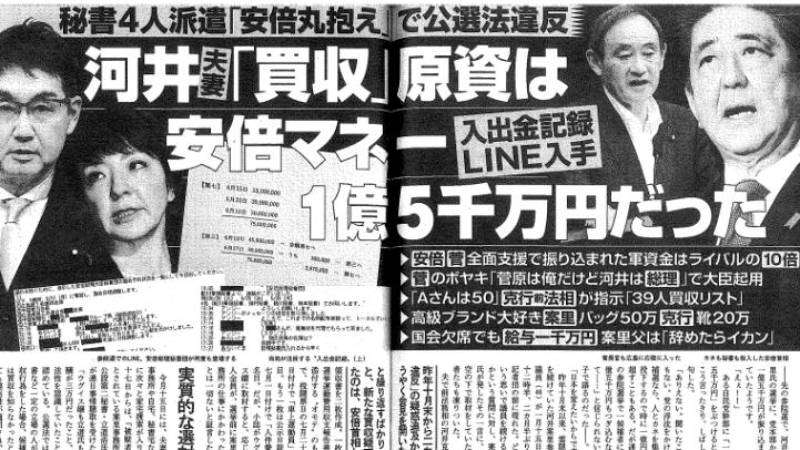 河井夫妻 1億5千万円 選挙資金