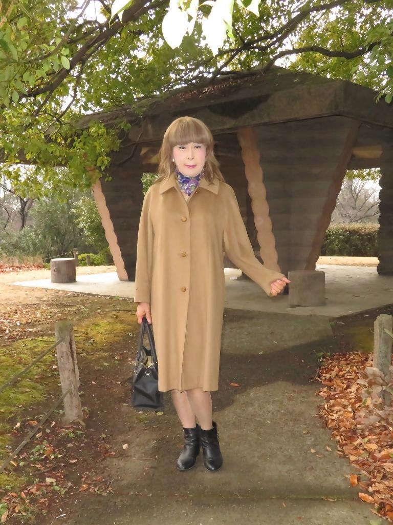 茶色のカシミアコート公園(6)