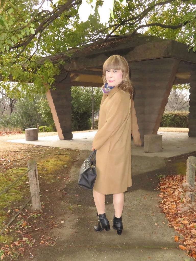 茶色のカシミアコート公園(8)
