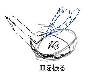 金属を溶かすときは皿を振る