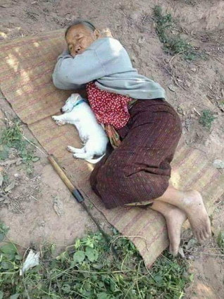 old woman and dog