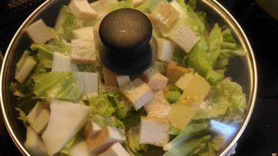 白菜と厚揚げの豆板醤蒸し1
