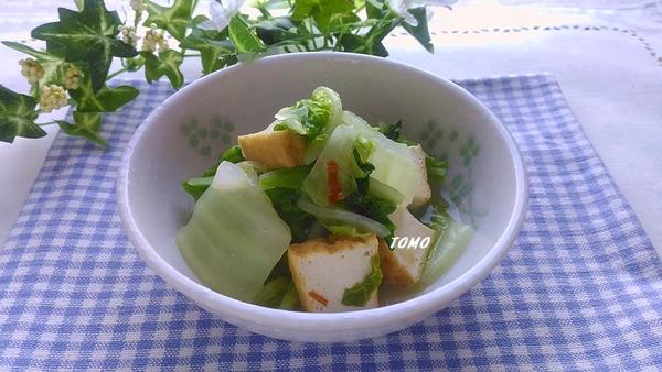 白菜と厚揚げの豆板醤蒸し