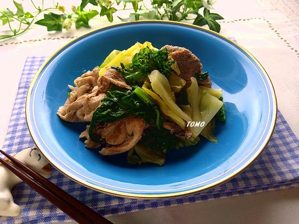 菜の花と豚肉のニンニク炒め