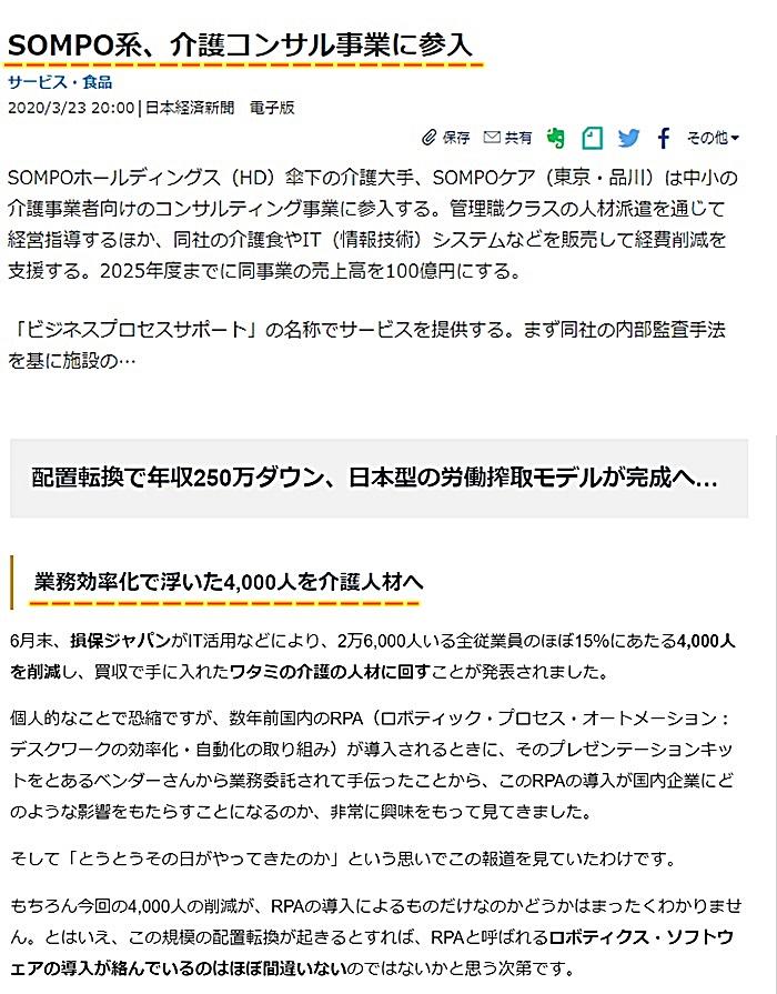 SOMPOホールディングス SOMPOケア 損保ジャパン日本興亜 介護コンサル