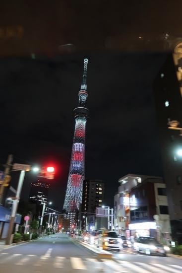 東京スカイツリー2019 ラグビーWCブレイブ・ブロッサムズカラー
