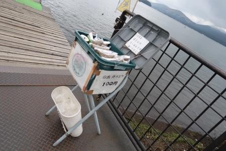 山中湖 白鳥と鯉の餌