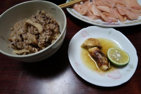 マツタケ御飯とマツタケホイル焼きと岩下の新生姜