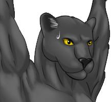 吊るされ黒豹 陰影付け顔