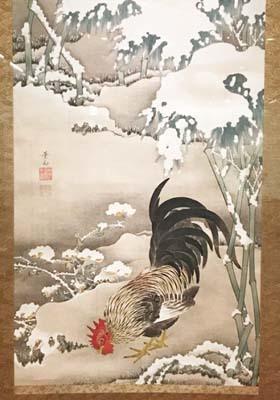 雪中雄鶏図