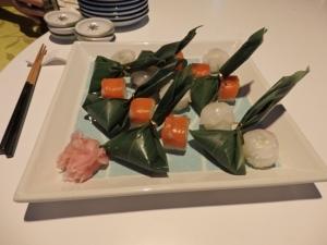 広島サーモン棒寿司・鯵も笹巻寿司・鯛手毬