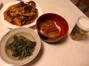 鰻丼と麻婆茄子