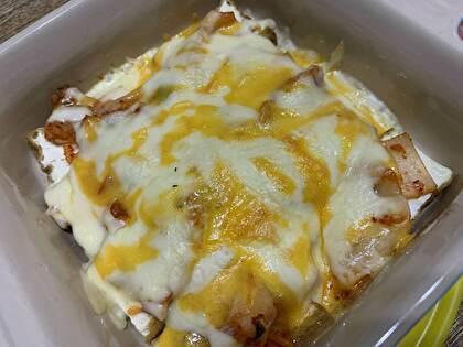厚揚げとキムチのチーズ焼き