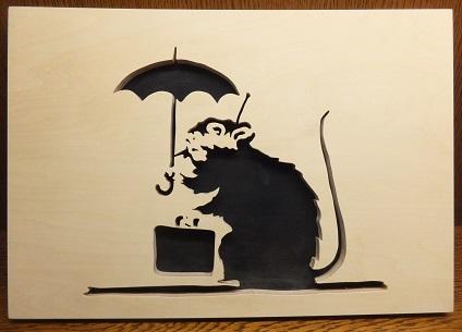 バンクシーの傘ネズミ