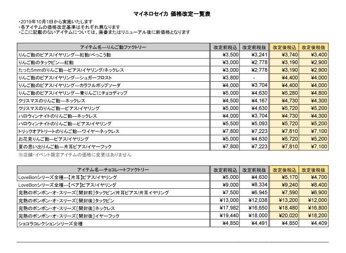 2019年10月価格変更表1