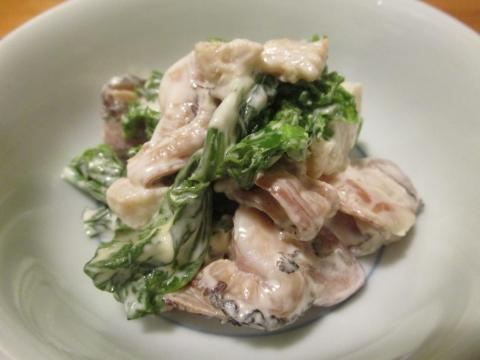 北寄貝のひもと菜花の辛子マヨ和え3
