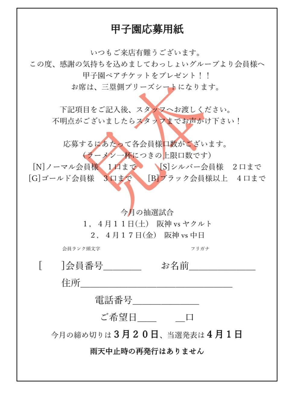 甲子園応募用紙見本