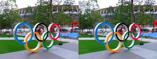 日本オリンピックミュージアム 五輪モニュメント・国立競技場②(平行法)