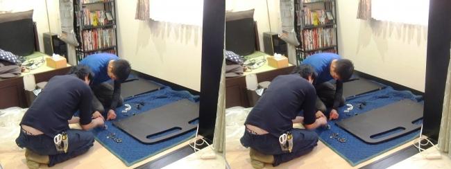 ベッド設置作業①(交差法)