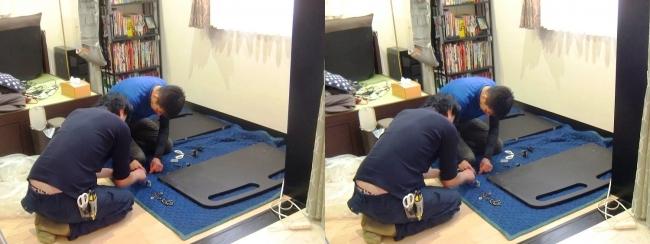 ベッド設置作業①(平行法)