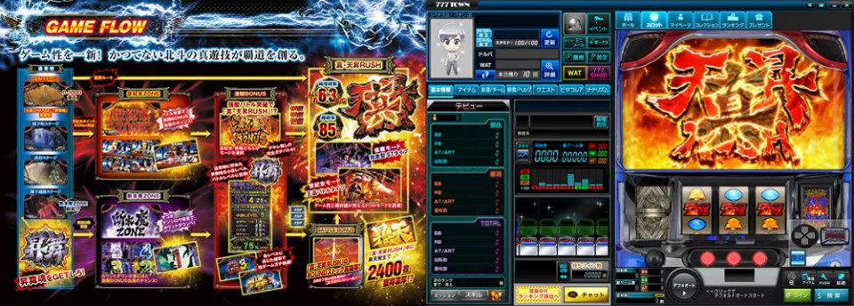 体験無料のパチンコ&スロットオンラインゲーム、777タウン.net、「パチスロ北斗の拳 天昇」が登場したよ