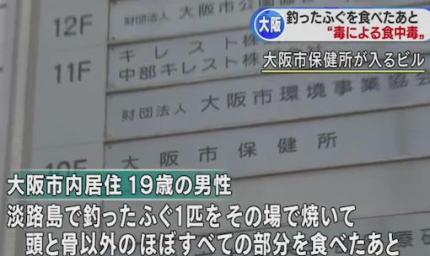 フグの毒について知らなかった大阪の19歳男性、釣り上げたフグをその場で焼いて、頭と骨以外全部丸ごと食べる→ 舌の痺れや目眩、呼吸困難などの症状を訴え病院に入院