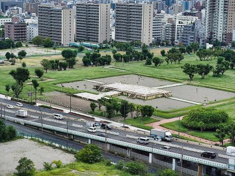 難波宮跡公園【大阪歴史博物館より】