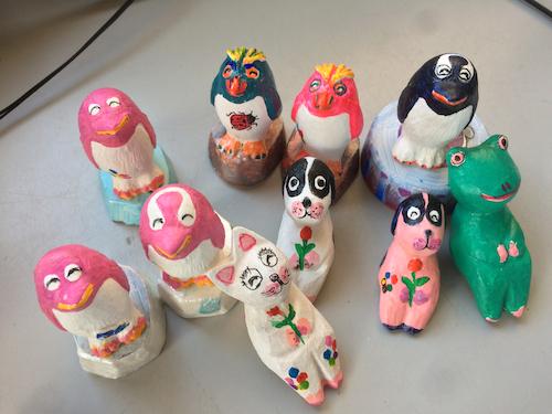アクリル石膏ネコ・ペンギン