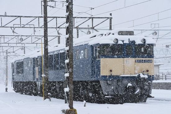 2020年3月29日撮影 南松本にて雪が降る中のEF64-1044号機
