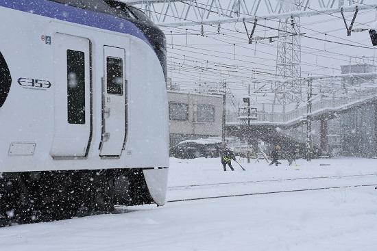 2020年3月29日撮影  南松本にて 5003M E353系 あずさ3号と雪掻き