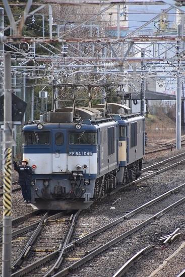 2020年2月22日撮影 南松本にて西線貨物8084レ 機回し EF64-1046号機