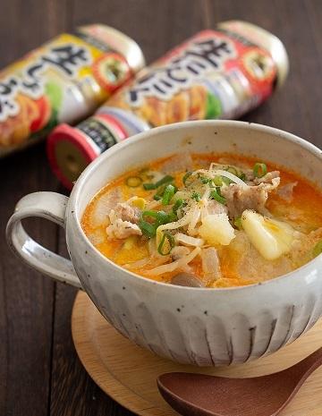 Bにんにく味噌バタースープ