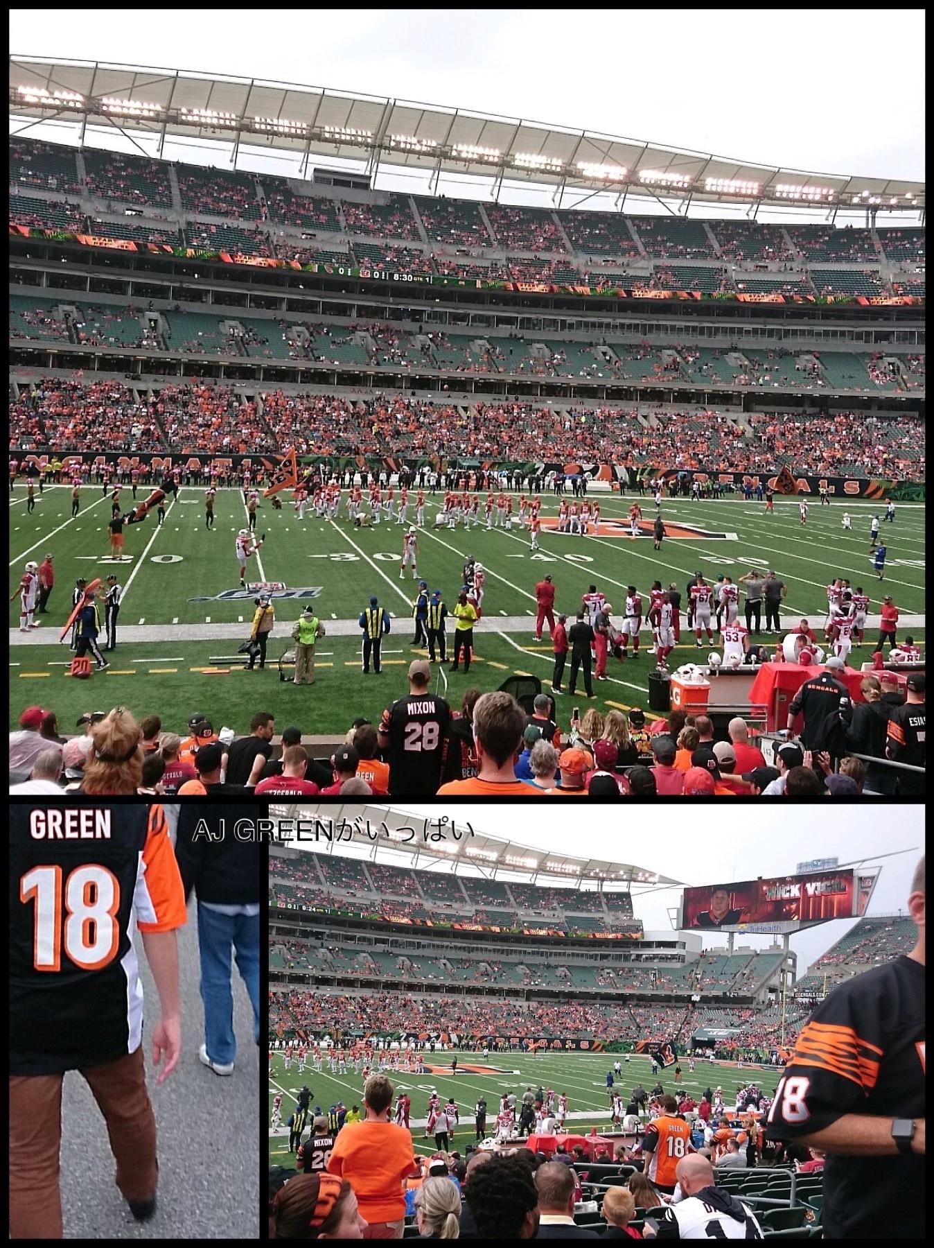 NFL観戦 シンシナティベンガルズスタジアム ベンガルズVSカージナルス