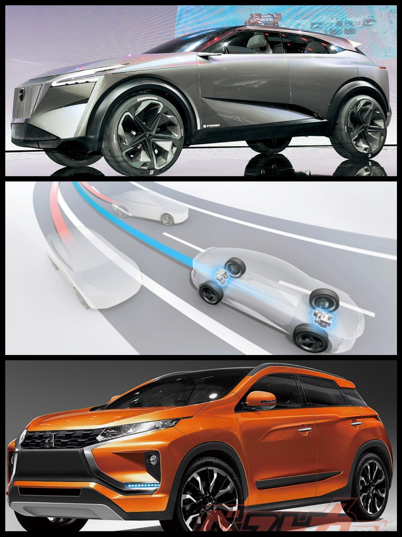 日産新型SUV ツインモーターePOWERシステム 三菱新型EV SUV