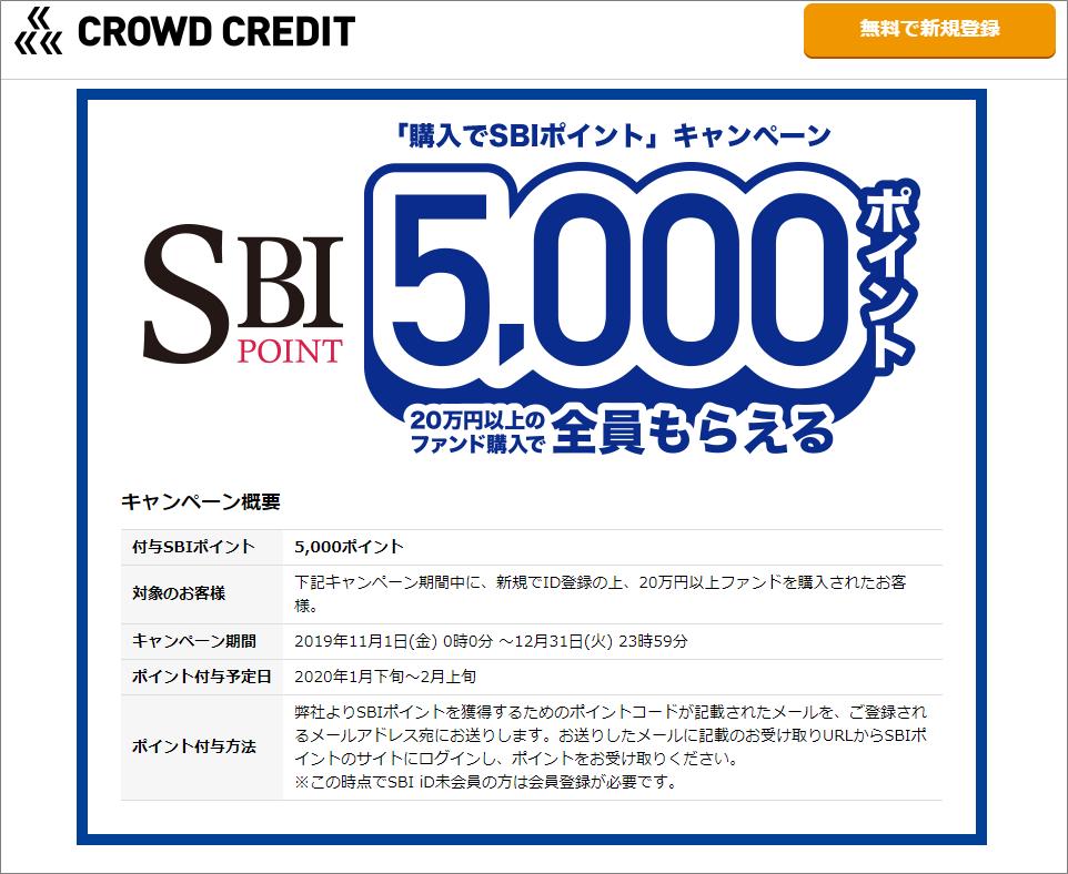 クラウドクレジット_SBIポイントキャンペーン20191101
