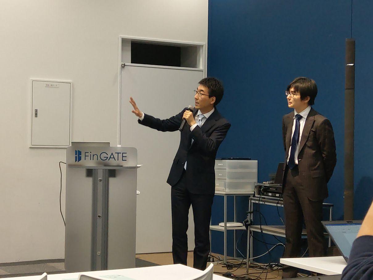 クラウドクレジット杉山智行社長と、モデレーターを務めたロボット投信株式会社野口哲社長