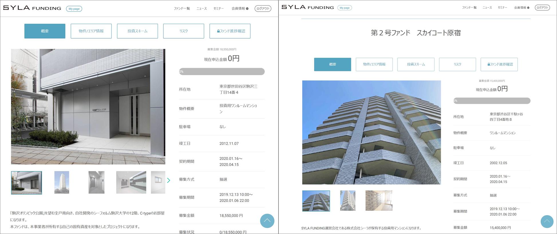 SYLA Funding投資家登録案件見られます。