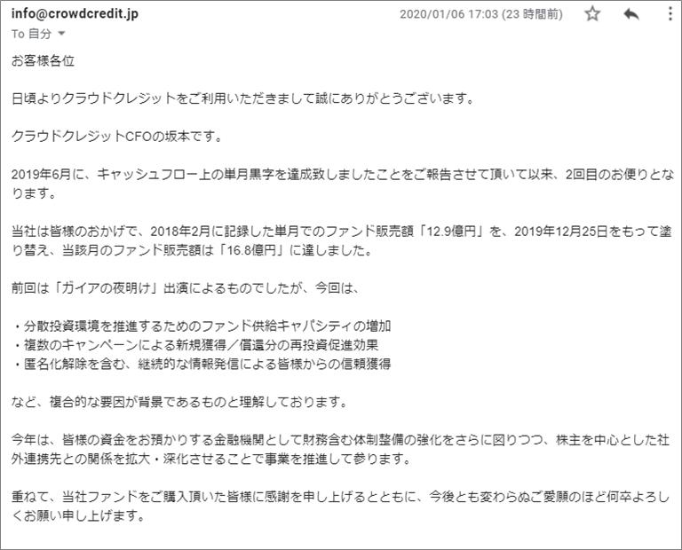 1月6日に投資家に送られてきたクラウドクレジット坂本隆宣CFOからのメール