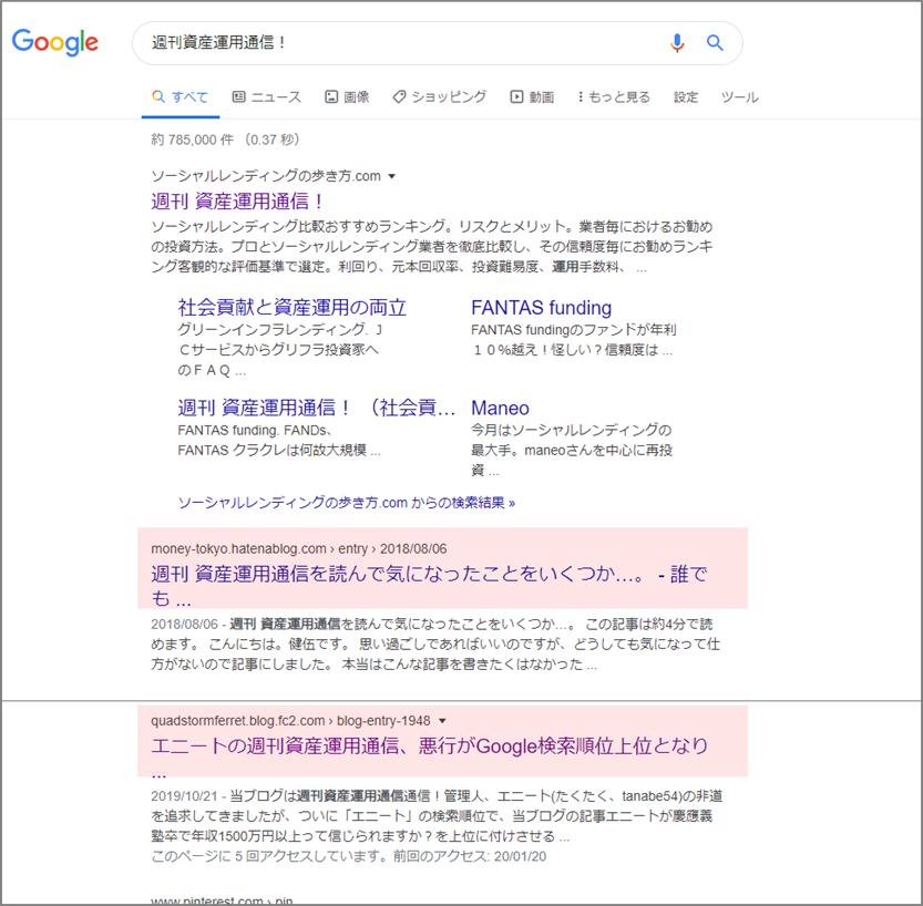 エニートのソーシャルレンディングの通知簿、グーグル検索順位上位になあれ