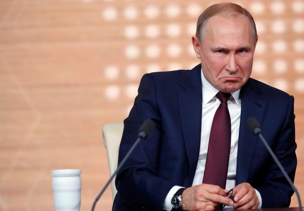 wor1912190033-p1_年末恒例の記者会見を行うロシアのプーチン大統領=19日、モスクワ(ロイター)