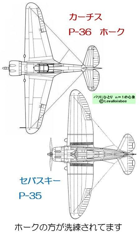 P-36とP-35上面図比較