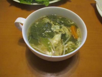 011011空芯菜でスープ