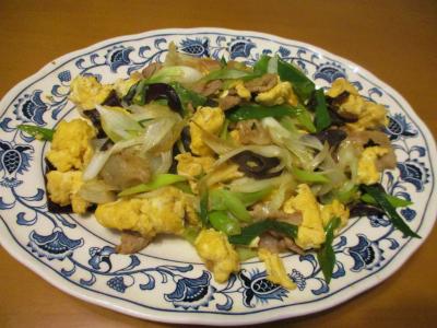 011127ネギ・豚肉・卵・木耳の中華