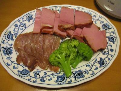 200105生ハムと残り物の焼き豚