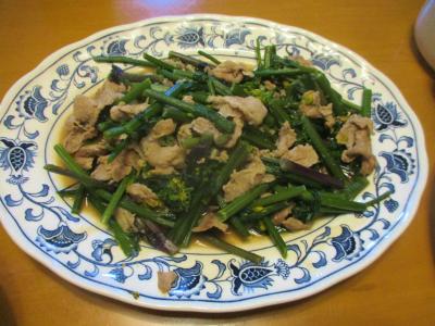 200224紅菜苔と豚こまの炒め物