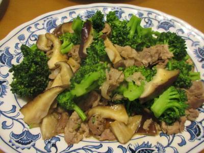 200229ブロッコリーと椎茸のオイスターソース炒め