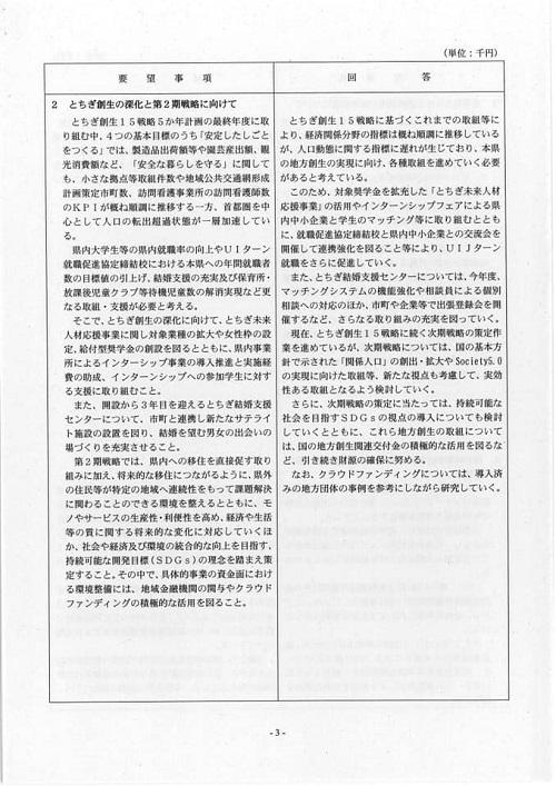 栃木県議会<民主市民クラブ>2019年度中間期 政策推進・予算化要望 知事回答06