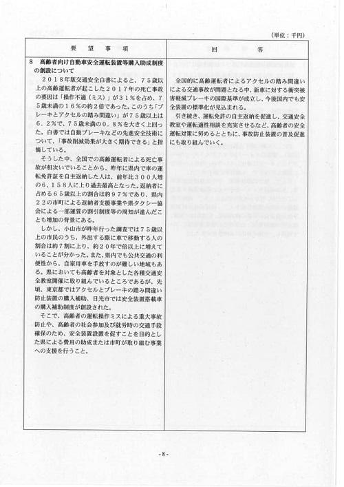 栃木県議会<民主市民クラブ>2019年度中間期 政策推進・予算化要望 知事回答11